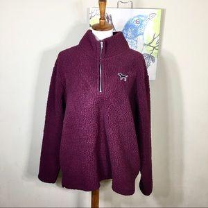 VS PINK Maroon Sherpa Teddy Bear Half ZIP Pullover